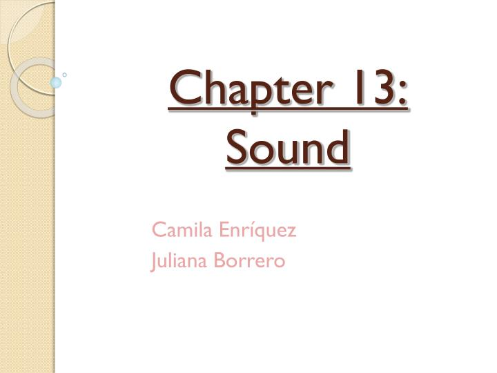 chapter 13 sound