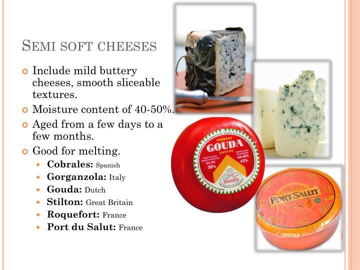 Semi soft cheeses