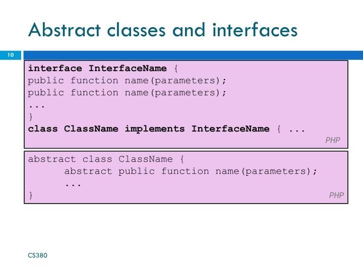 Abstract classes and interfaces