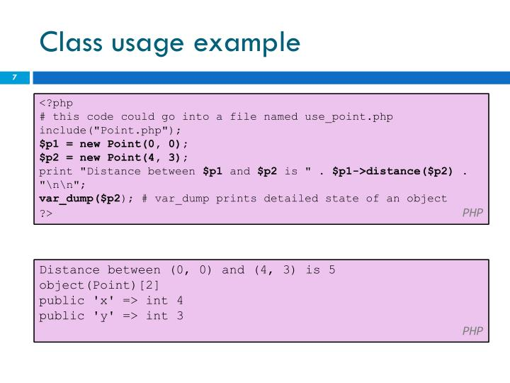 Class usage example