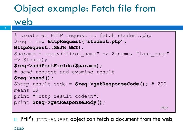 Object example: Fetch file from web
