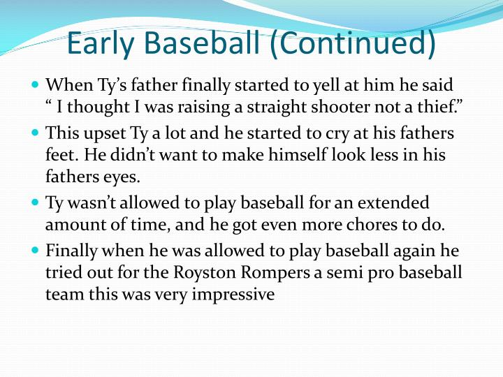 Early Baseball (Continued)