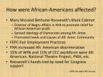 how were african americans affected