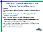 operations on rational expressions and factoring polynomial expressions