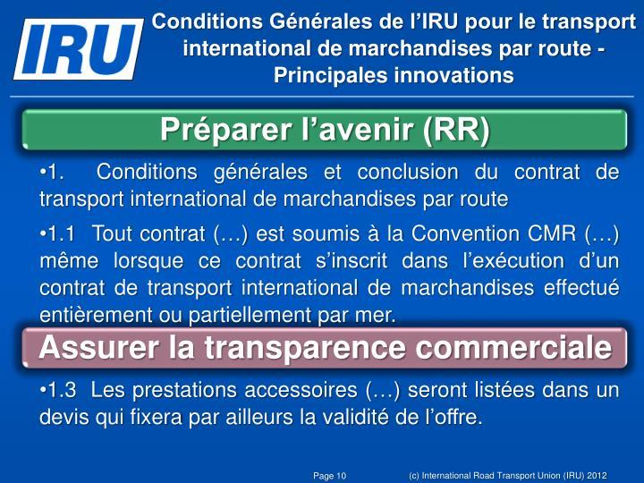 Conditions Générales de l'IRU pour le transport international de marchandises par route -