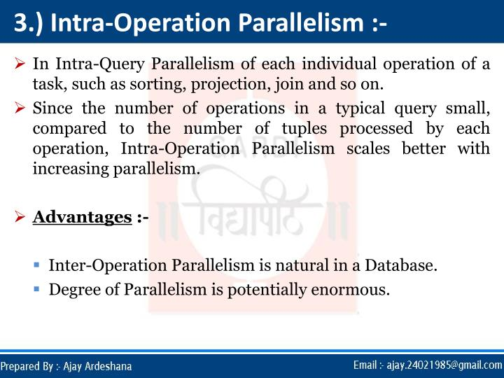3.) Intra-Operation Parallelism :-