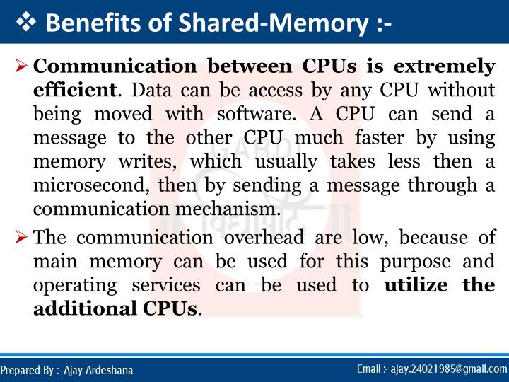 Benefits of Shared-Memory :-