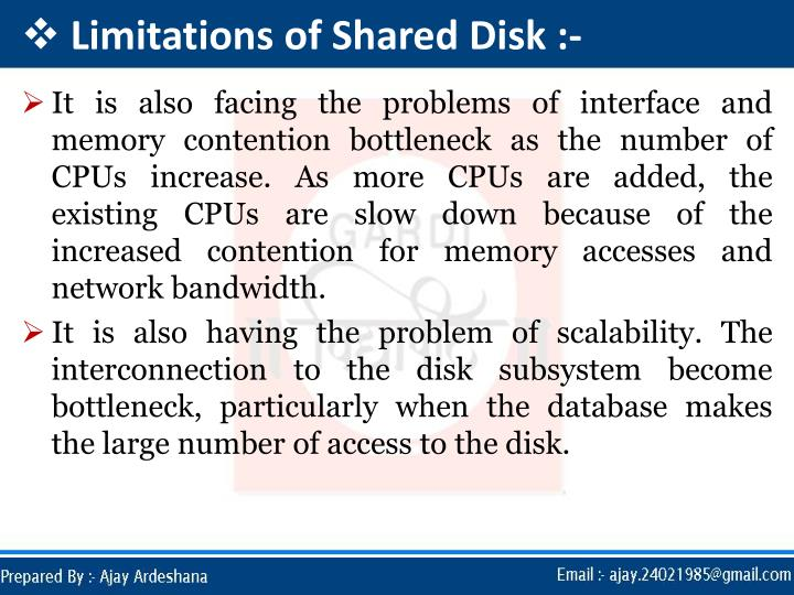 Limitations of Shared Disk :-