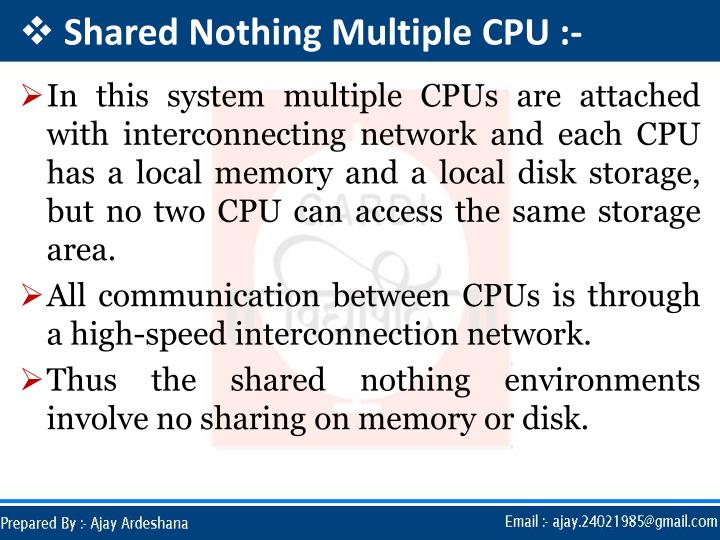 Shared Nothing Multiple CPU :-