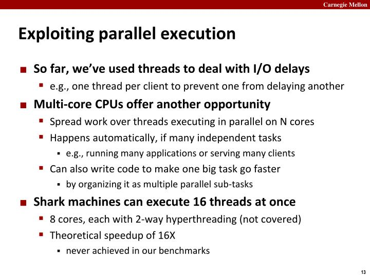 Exploiting parallel execution
