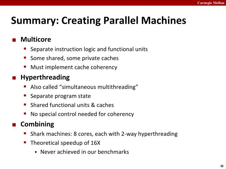 Summary: Creating Parallel Machines