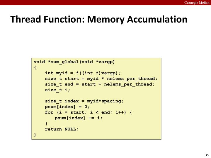 Thread Function: Memory Accumulation