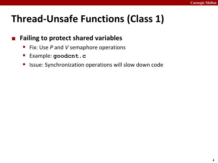Thread-Unsafe Functions