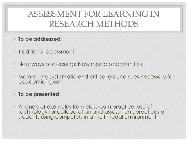 Assessment for learning in research methods