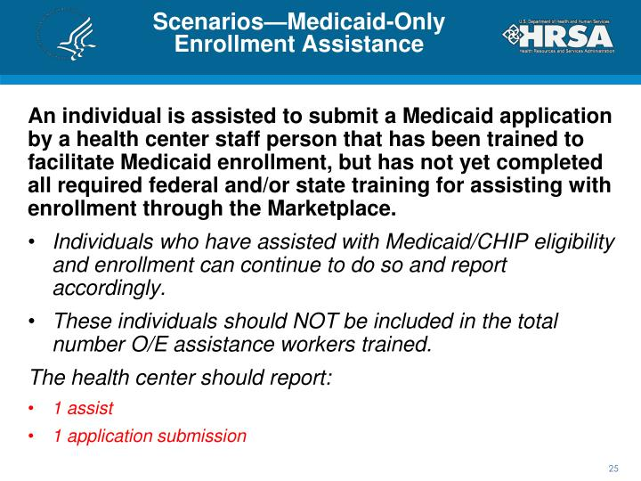 Scenarios—Medicaid-Only Enrollment Assistance
