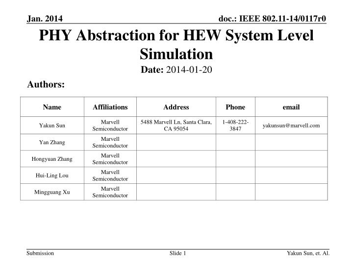 phy abstraction for hew system level simulation n.