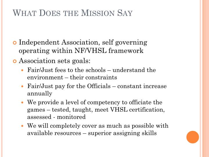 What Does the Mission Say