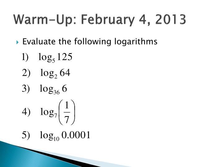 Warm-Up: February 4, 2013