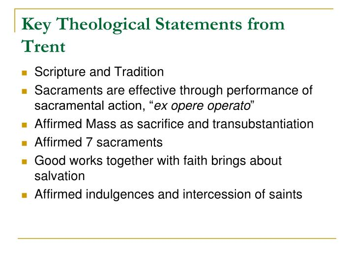 Key Theological Statements from Trent