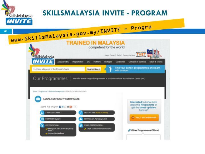 SKILLSMALAYSIA INVITE - PROGRAM