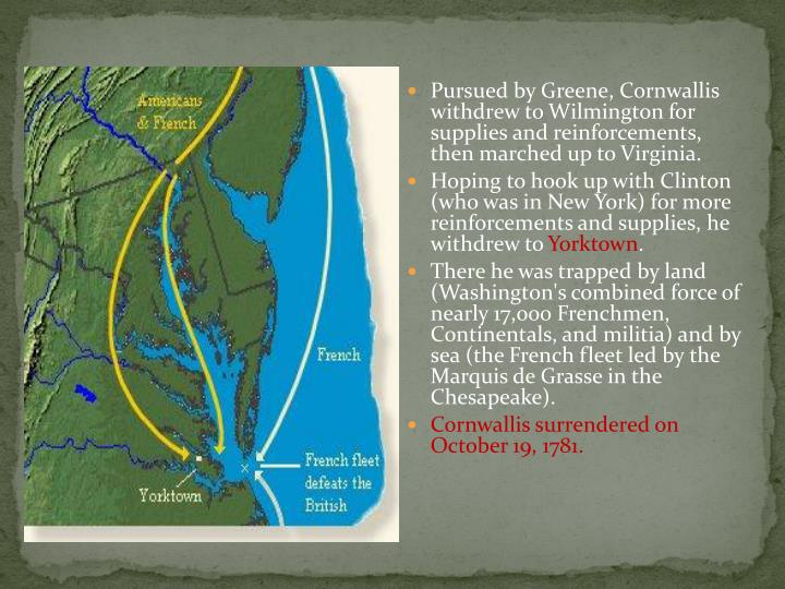 Pursued by Greene, Cornwallis withdrew to Wilmington for supplies and reinforcements, then marched up to Virginia.