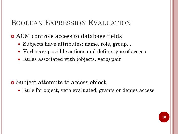 Boolean Expression Evaluation