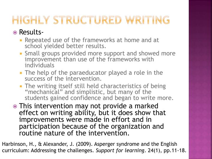 Highly structured writing
