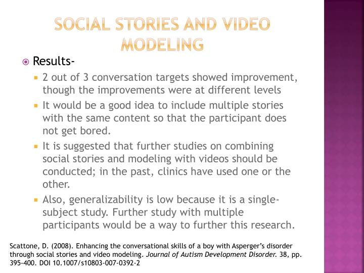Social stories and video modeling