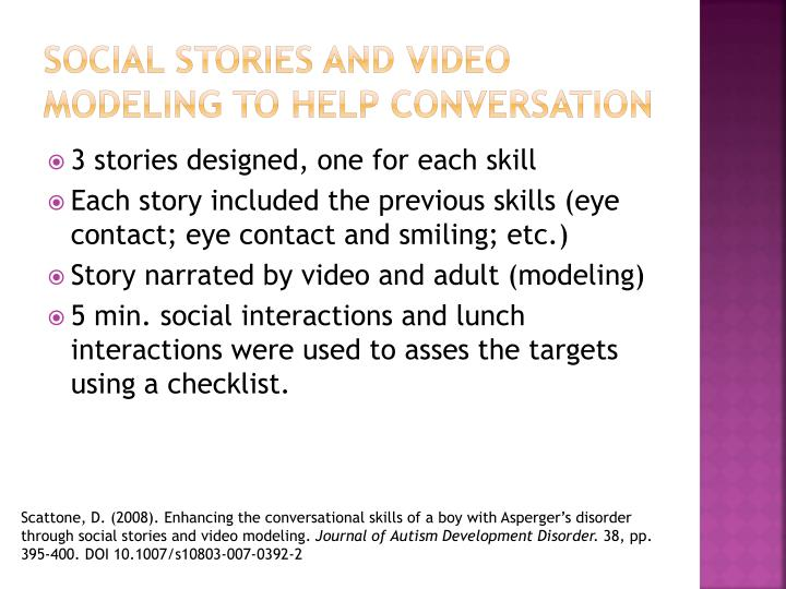Social Stories and Video Modeling to help