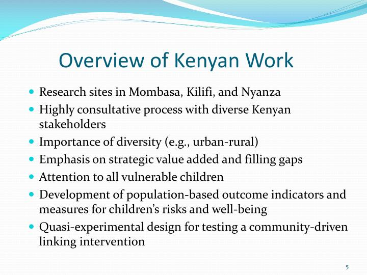 Overview of Kenyan Work