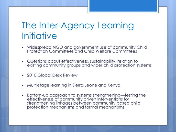 The inter agency learning initiative
