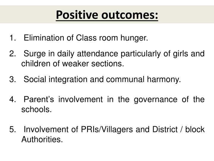 Positive outcomes: