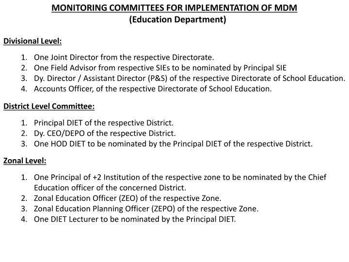 MONITORING COMMITTEES FOR IMPLEMENTATION OF MDM