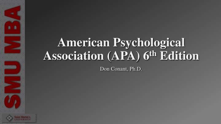 american psychological association apa 6 th edition n.