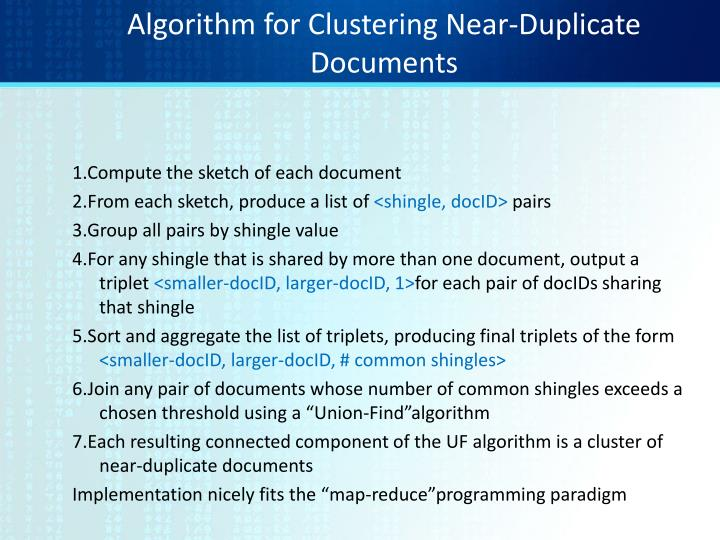 Algorithm for Clustering Near-Duplicate Documents