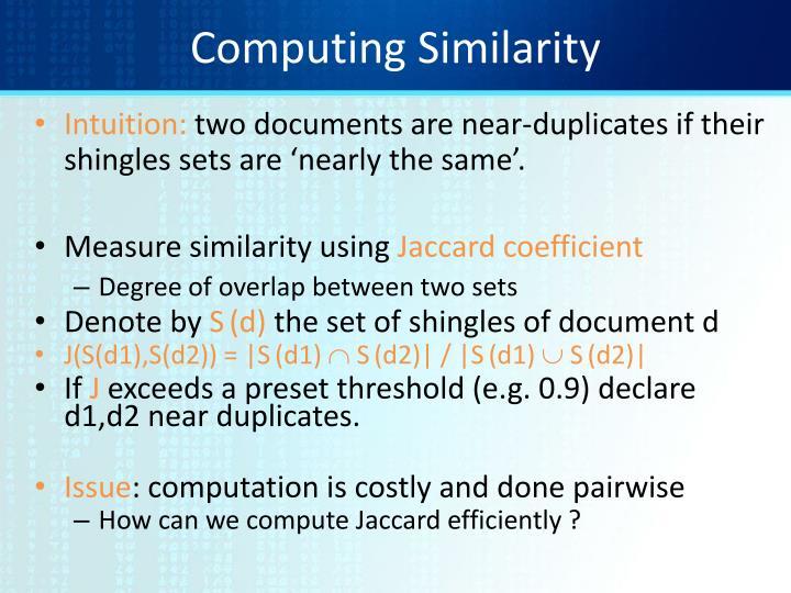 Computing Similarity