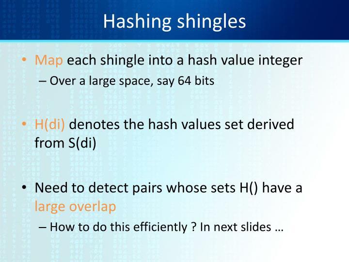 Hashing shingles