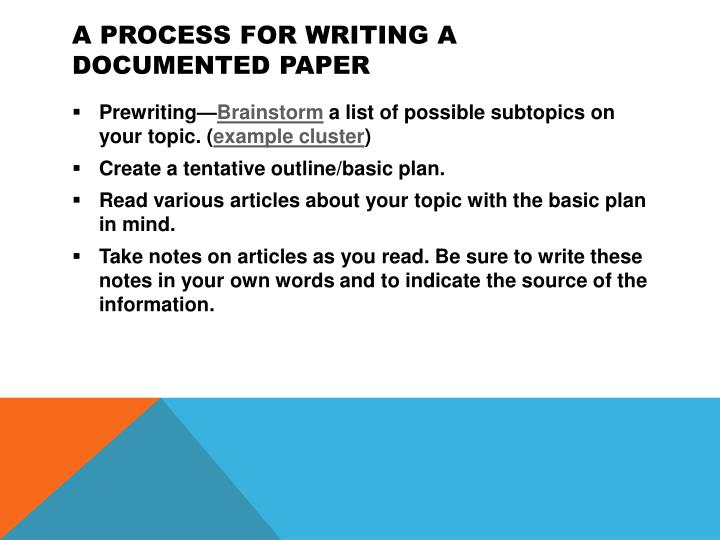 A Process for Writing a