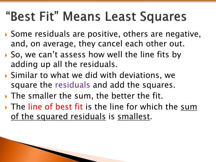 """Best Fit"" Means Least Squares"