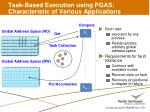 task based execution using pgas characteristic of various applications