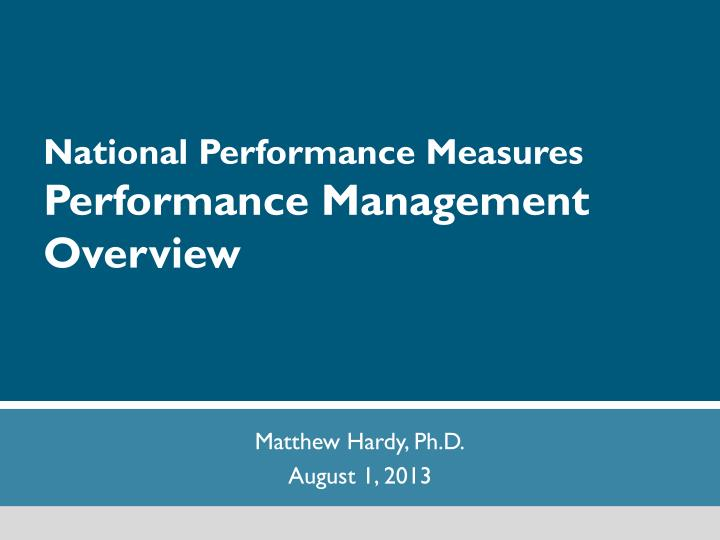 national performance measures performance management overview n.