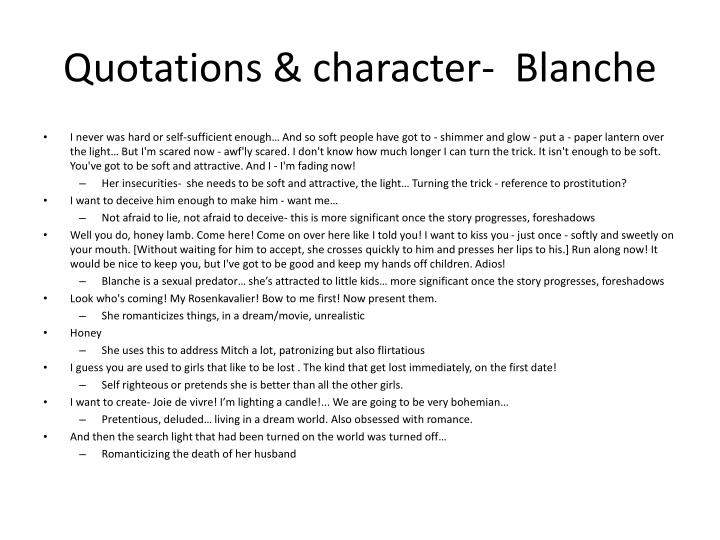 Quotations character blanche