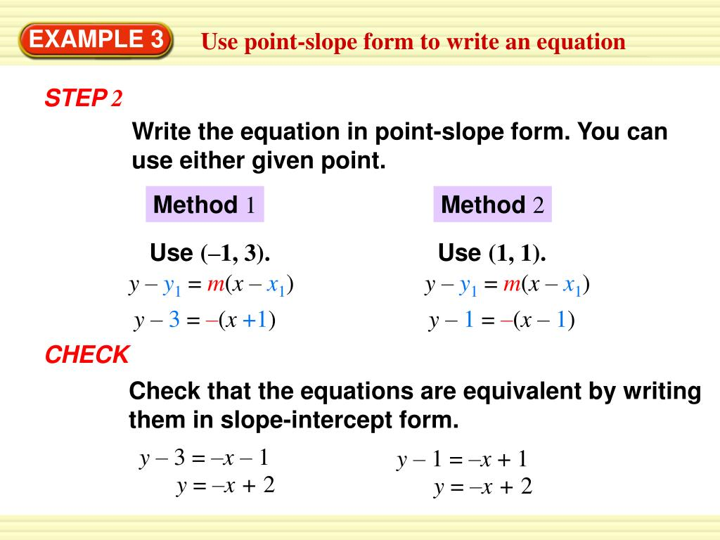 point slope form given point and slope  PPT - Write an equation in point-slope form PowerPoint ...