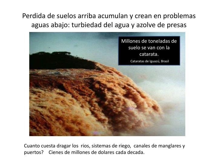 Perdida de suelos arriba acumulan y crean en problemas aguas abajo: turbiedad del agua y azolve de presas