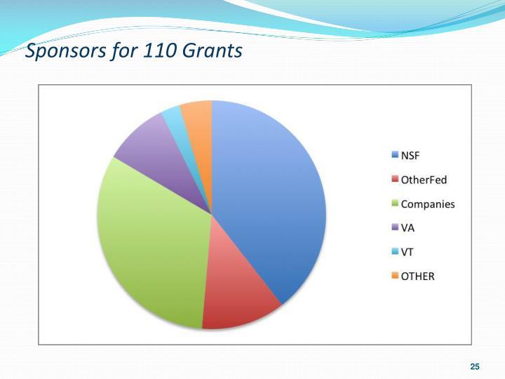 Sponsors for 110 Grants