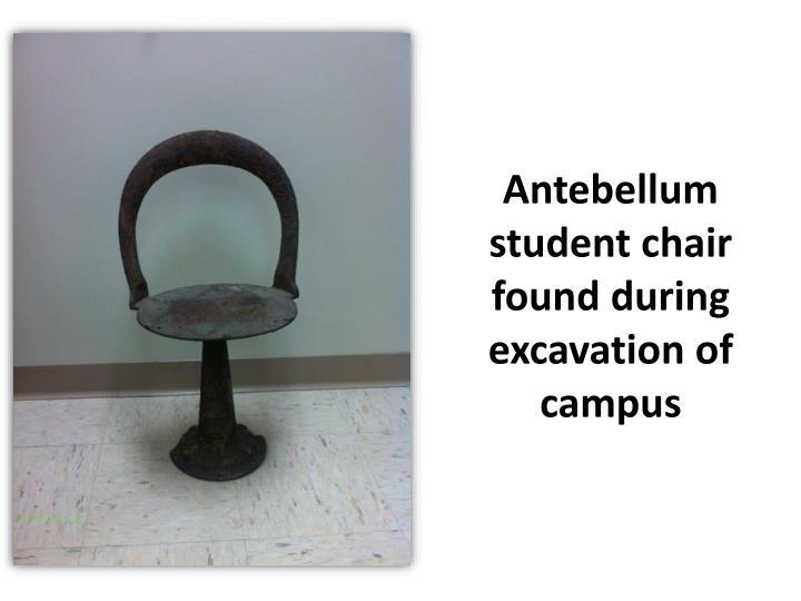 Antebellum student chair found during excavation of campus