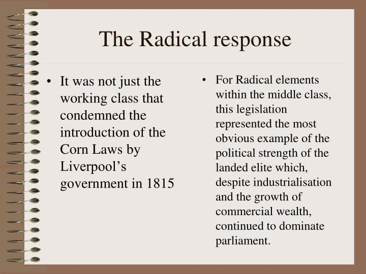 It was not just the working class that condemned the introduction of the Corn Laws by Liverpool's government in 1815