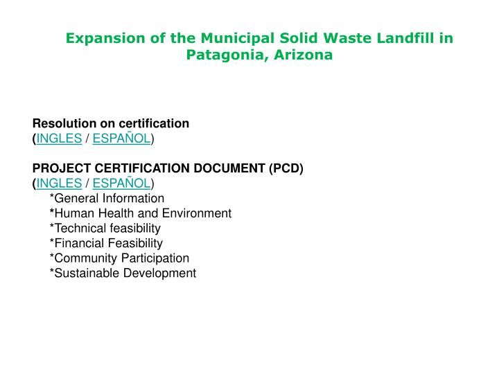 Expansion of the municipal solid waste landfill in patagonia arizona