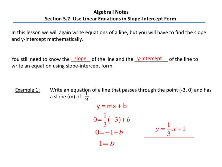 Ppt Algebra I Notes Section 52 Use Linear Equations In Slope