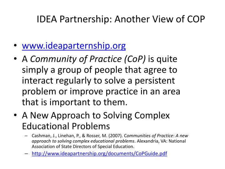 Idea partnership another view of cop
